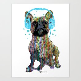 French Bulldog With Headphones Art Print