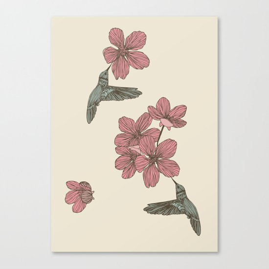 Blossoms & Birds Canvas Print