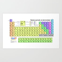Tabelul periodic al elementelor (Periodic Table in Romanian) Art Print