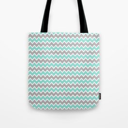 Aqua Turquoise Blue and Grey Gray Chevron Tote Bag