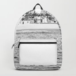 Vintage Newport Beach Print {4 of 4} | Photography Ocean Palm Trees B&W Tropical Summer Sky Backpack