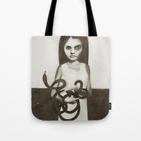 snake Tote Bags featuring snake by Ruben Ireland
