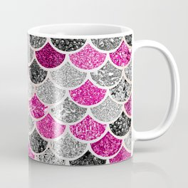 Pink, Silver and Cranberry Mermaid Scales Pattern Coffee Mug