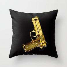 Golden Gun Throw Pillow
