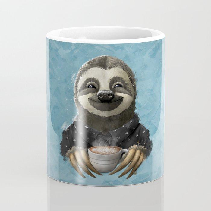 Sloth smilling with coffee latte Coffee Mug