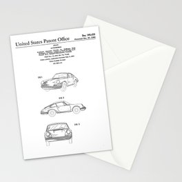Porsche 911 Patent Drawing Stationery Cards