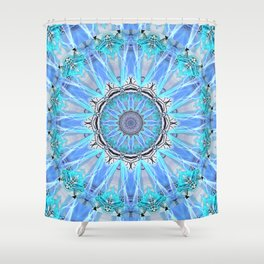 Sapphire Ice Flame, Light Bright Crystal Wheel Shower Curtain