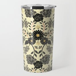 Gray, Black, Cream, Yellow & Red Sophisticated Floral Pattern Travel Mug