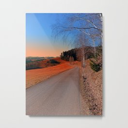 Country road into a beautiful sunset at Auberg | landscape photography Metal Print