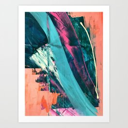 Wild [7]: a bold, colorful abstract mixed-media piece in teal, orange, neon blue, pink and white Art Print