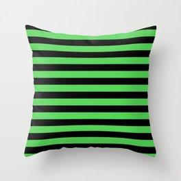 Stripes (Black & Green Pattern) Throw Pillow