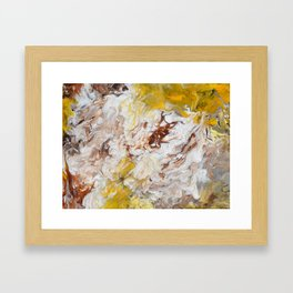 Brown, White and Yellow Abstract Art Framed Art Print