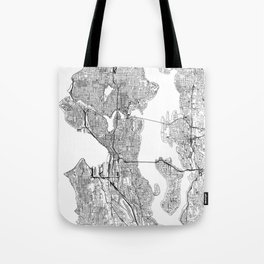 Seattle White Map Tote Bag