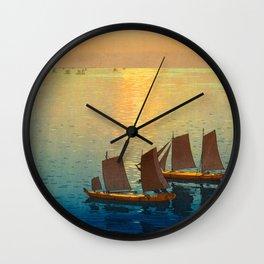Hiroshi Yoshida Vintage Japanese Woodblock Art Ocean Sunset Sailboat Orange Blue Color Hues Wall Clock