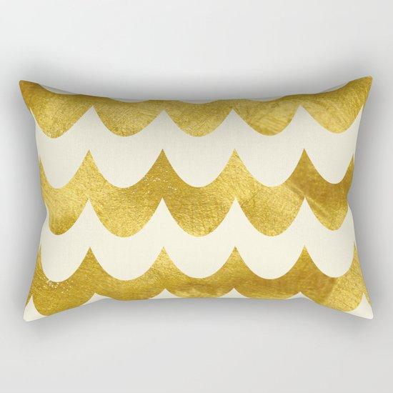 Cream Gold Foil 04 Rectangular Pillow