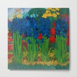 Sapphire-Blue Irises, Calla Lilies, Sunflowers, & Red Dahlia Parisian Garden by Emil Nolde Metal Print