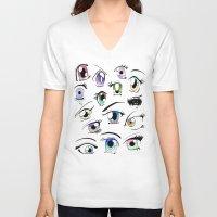 manga V-neck T-shirts featuring Manga Eyes by TAEMI.