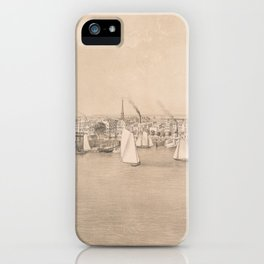 Vintage Pictorial View of Jersey City NJ (1866) iPhone Case