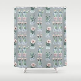 Potted Cactus Plants Gray Shower Curtain