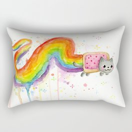 Rainbow Cat Meme Geek Whimsical Animal Painting Rectangular Pillow