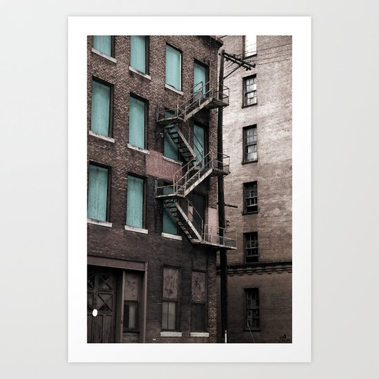 Teal & Brick Art Print