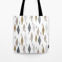 Danish Diamond Mid-Century Geometric Print Tan Tote Bag