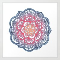 bedding Art Prints featuring Radiant Medallion Doodle by micklyn