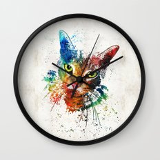 Colorful Cat Art by Sharon Cummings Wall Clock
