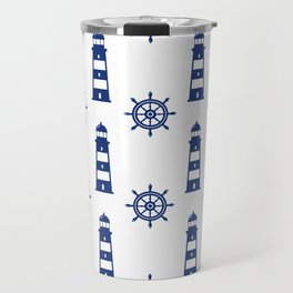 Blue Lighthouse Pattern Travel Mug