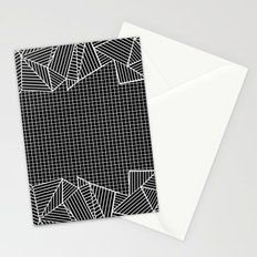 Grids And Stripes Black Stationery Cards