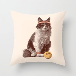 Tennis Cat Throw Pillow
