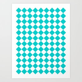 Diamonds - White and Cyan Art Print