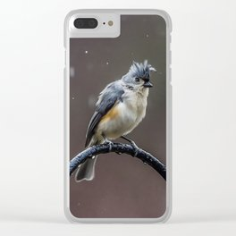 Tufted Titmouse shaking off the rain Clear iPhone Case