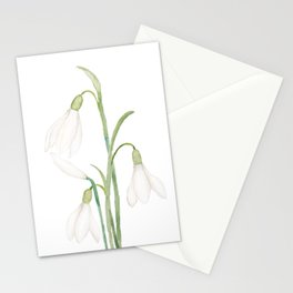 angelic snowdrop flowers watercolor Stationery Cards