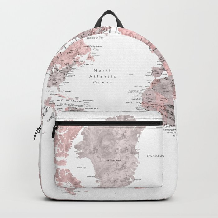Dusty Pink And Grey Detailed Watercolor World Map Backpack By