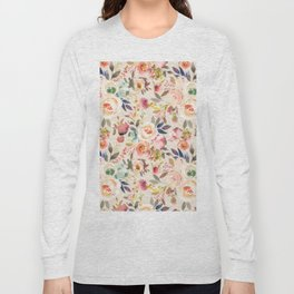 Hand painted ivory pink brown watercolor country floral Long Sleeve T-shirt