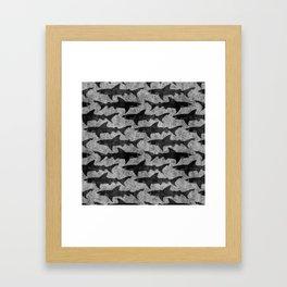 Gray and Black Shark Pattern Framed Art Print