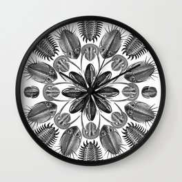 Trilobite and Fossil Mandala, Collage using Ernst Haeckel illustrations Wall Clock