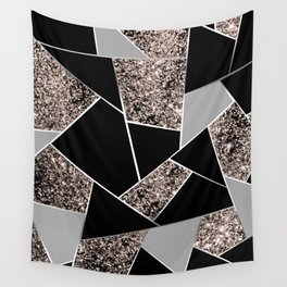 Rose Gold Geometric Glitter Glam #1 #geo #decor #art #society6 Wall Tapestry