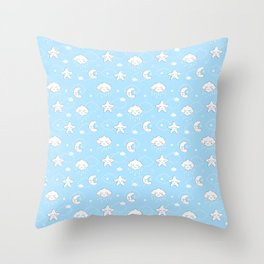 Sleepy Time Moon, Clouds and Stars Throw Pillow