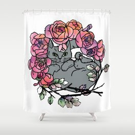 Rose Bed Cat Shower Curtain