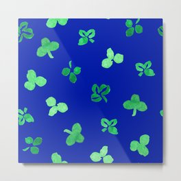 Clover Leaves Pattern on Royal Blue Metal Print