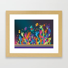 Arms up in the air. Framed Art Print