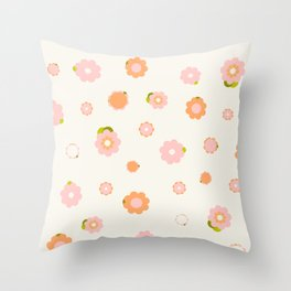 Sweet pink and orange flowers over beige Throw Pillow