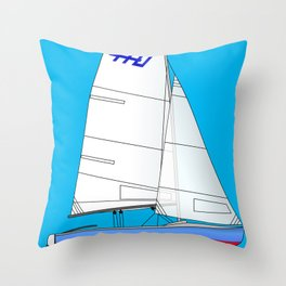 470 Olympic Sailboat Throw Pillow