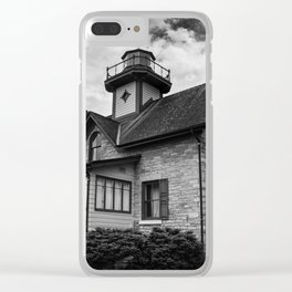 Cedar Point Lighthouse in Black and White Landscape Photograph Clear iPhone Case