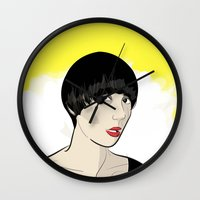 karen hallion Wall Clocks featuring Karen Ooo by Nicky Phillips