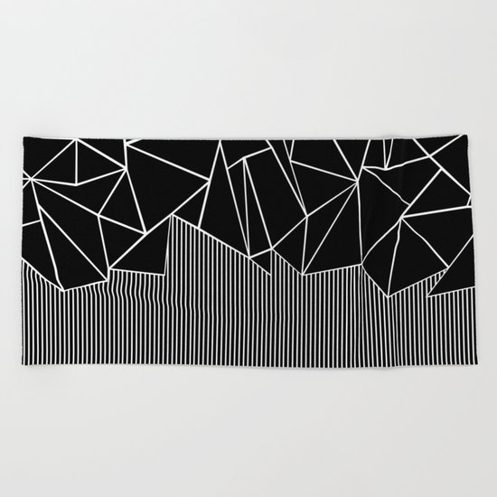 Ab Lines Black Beach Towel