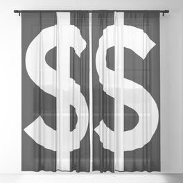 Dollar Sign (White & Black) Sheer Curtain