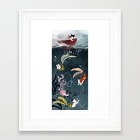 "Framed Art Prints featuring ""Catfish"" - cute fantasy cat mermaids illustration by Vivien Wu"